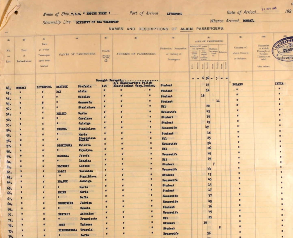 This is the passenger list for the Empire Brent from 1947. My Babcia (or grandma) is listed alongside her mother Valeria. She travelled from India to England after being displaced from Poland during the Second World War. Because this records survives I can find out details about the vessel she travelled on, when, and to where.