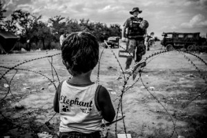 A young boy is waiting by the borders to get permission to cross to Macedonia where the army is guarding the area. August 21, 2015