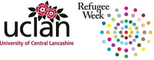 uclanlogo-300 with  refugee wk logo