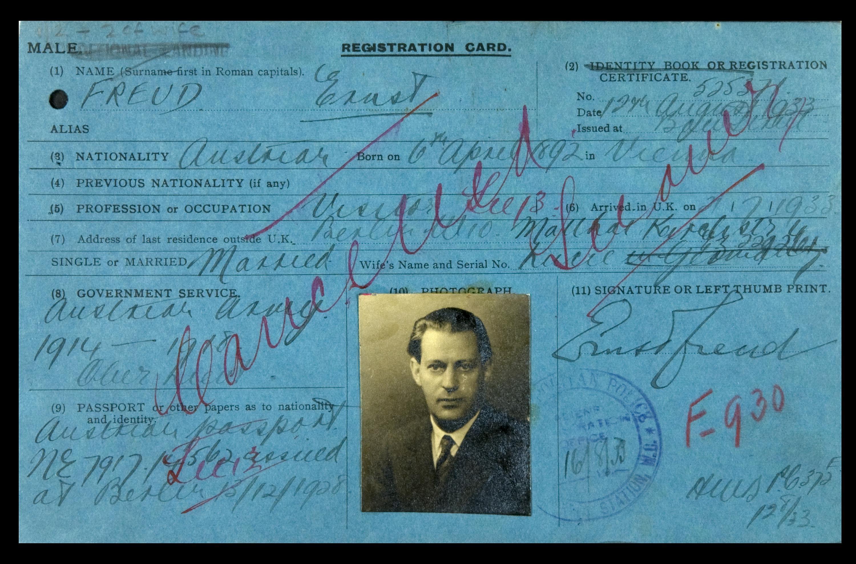 MEPO35-29 Alien Registration card Ernst Freud (1 of 4) 1933-1939