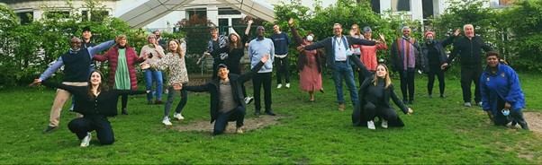 Photo: Citizens of the World Choir members have fun during the resumption of in-person rehearsals May 2021