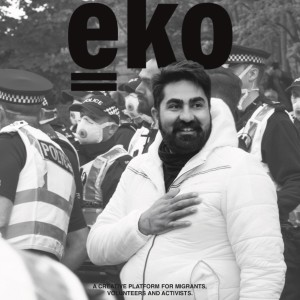 eko magazine cover showing men with police in background